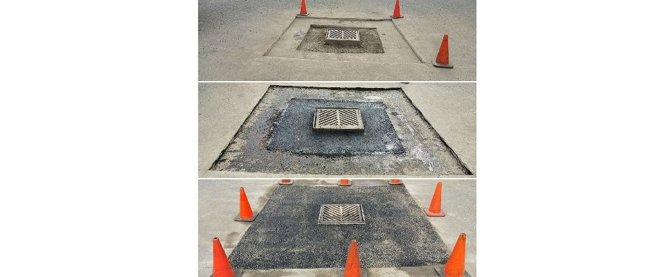 stages of asphalt repair around a drain top